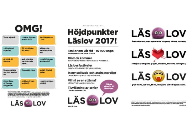 Bild av affischer, foldrar och logotyper